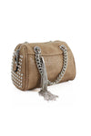 Beige Studded Silver Chain Bag - Piper