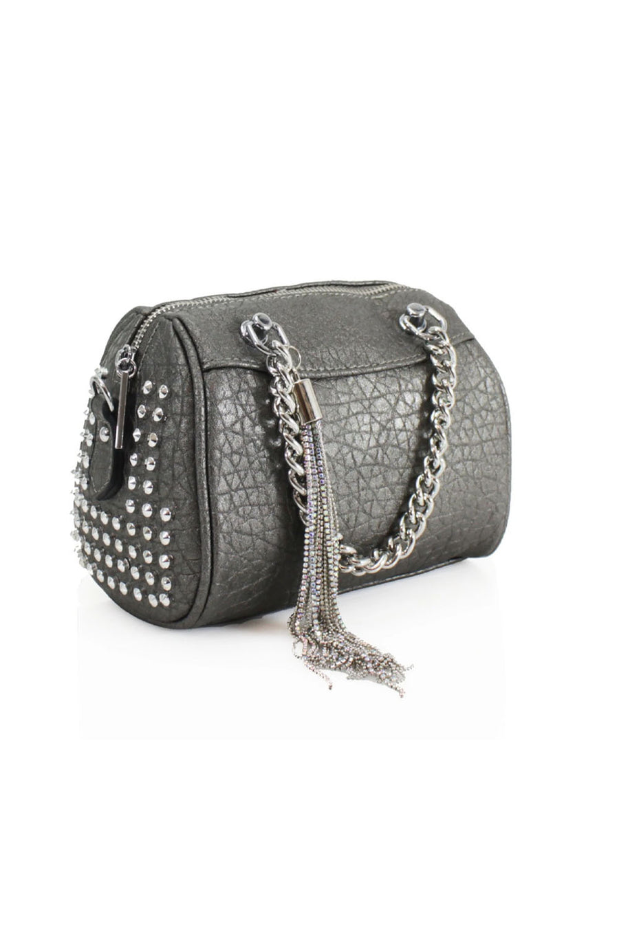 Dark Grey Studded Chain Bag - Piper