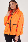 Neon Orange Hoodie Rain Festival Jacket - Maggie