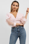 Baby Pink Shirred Organza Sleeve Plunge Top - Amanda