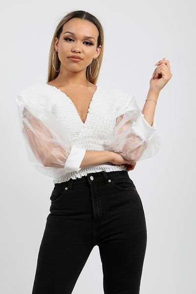 Off White Shirred Organza Sleeve Plunge Top - Amanda