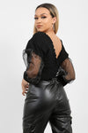 Black Shirred Organza Sleeve Plunge Top - Amanda