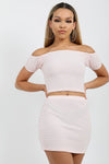 Baby Pink Shirred Bardot Top & Skirt Co-ord Suit - Leona