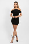 Black Shirred Bardot Top & Skirt Co-ord Suit - Leona