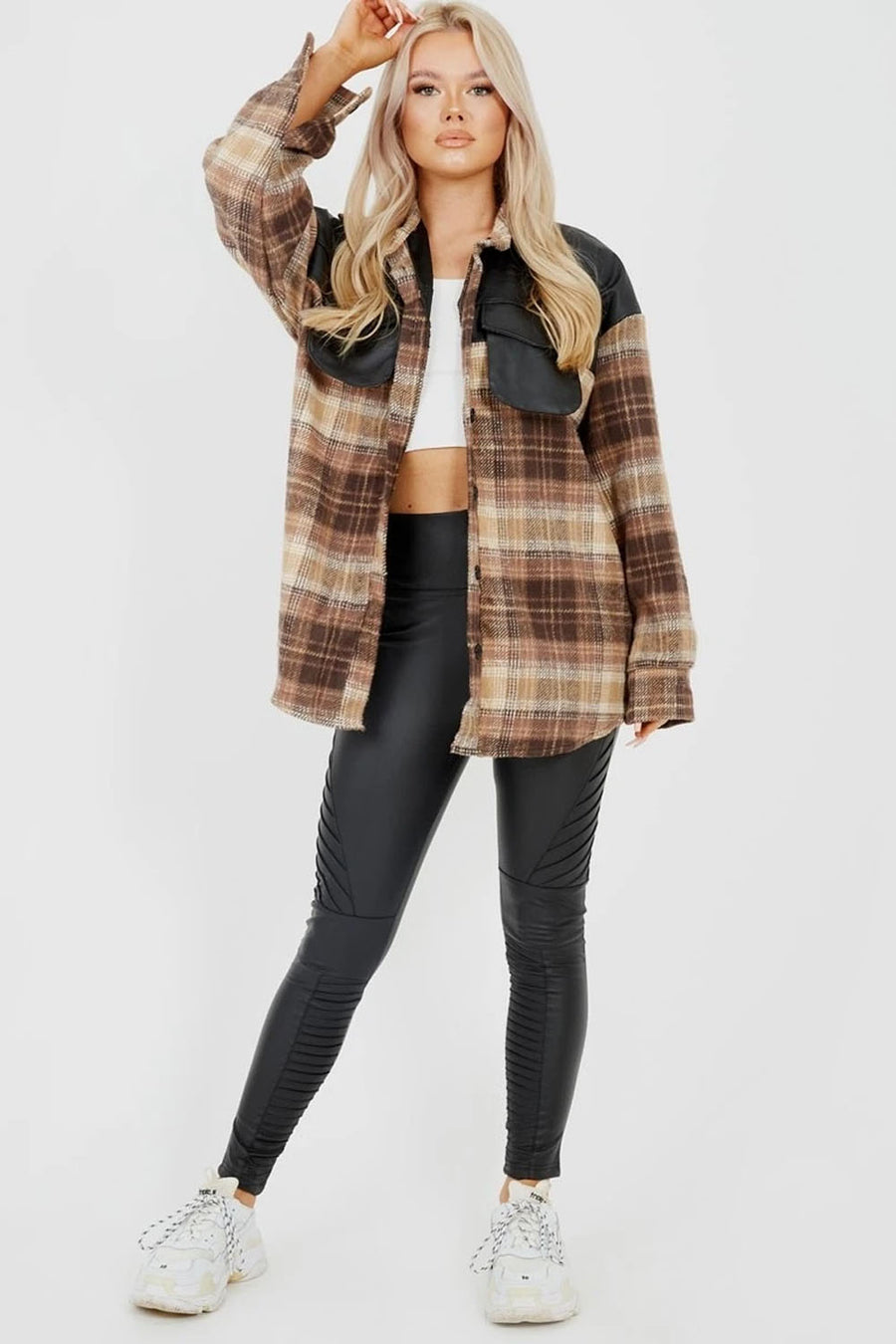 Brown PU Detail Oversized Thick Checked Shacket - Ezra