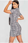 Grey Snake Print Ribbed Ruched Dress - Lasha
