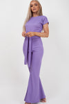 Back In Stock Lilac Ribbed Tie Knot Crop Top & Trouser Co-ord - Brooke