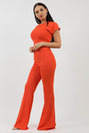 Orange Ribbed Tie Knot Crop Top & Trouser Co-ord - Brooke