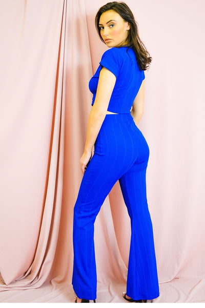Royal Blue Ribbed Tie Knot Crop Top & Trouser Co-ord - Brooke