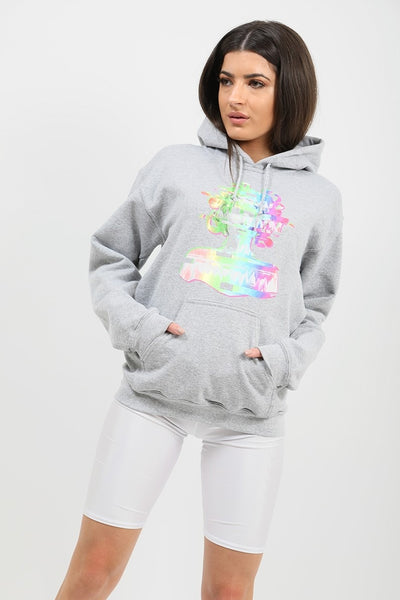 Back In Stock Grey Distorted Graphic Fleeced Hoodie - Zora