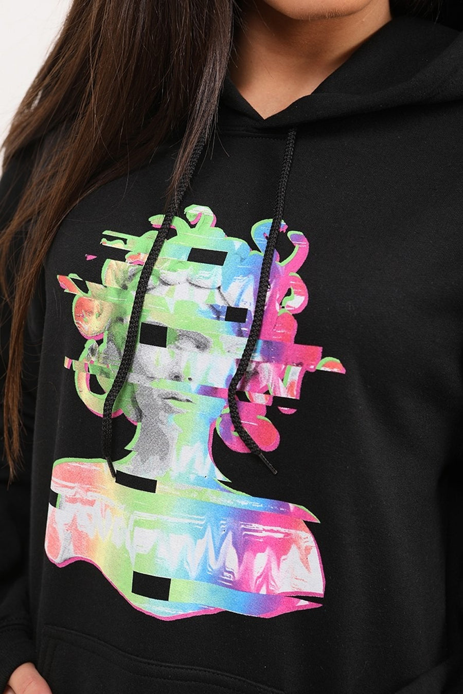 Black Distorted Graphic Fleeced Hoodie - Zora