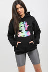Back In Black Distorted Graphic Fleeced Hoodie - Zora