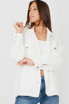 Off White Plain Classic Thick Shirt Jacket - Nanna