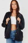 Black Plain Classic Thick Shirt Jacket - Nanna