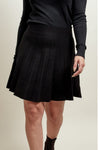 Black Knitted Pleated Mini Skirt - Lana