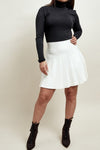 Cream Knitted Pleated Mini Skirt - Lana