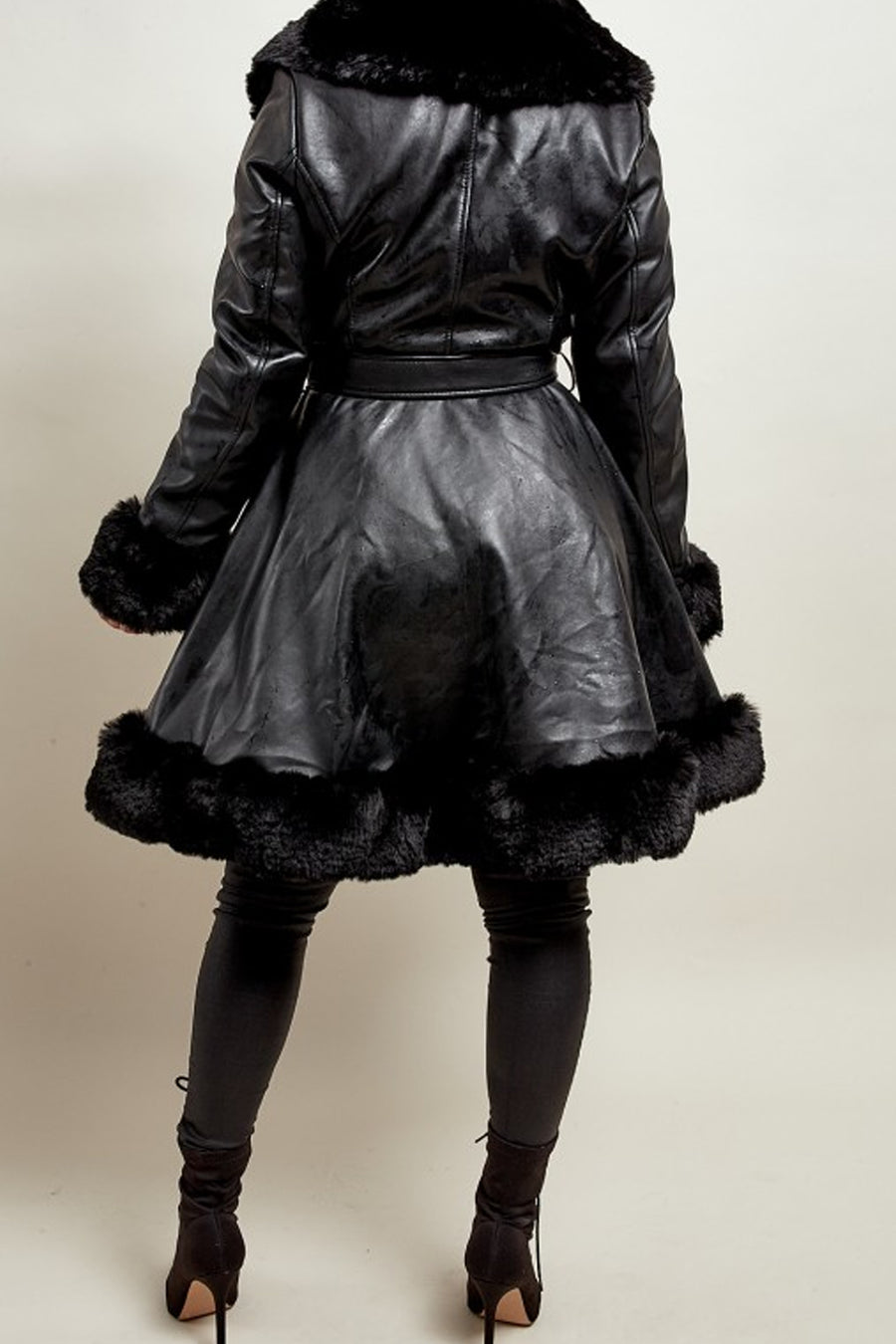 Black Pu Faux Fur Belted Swing Jacket - Nile