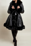Black PU Faux Fur Belted Swing Jacket - Nia