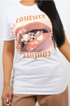 Back In Stock White Couture Lip Print T-Shirt Top - Aurora