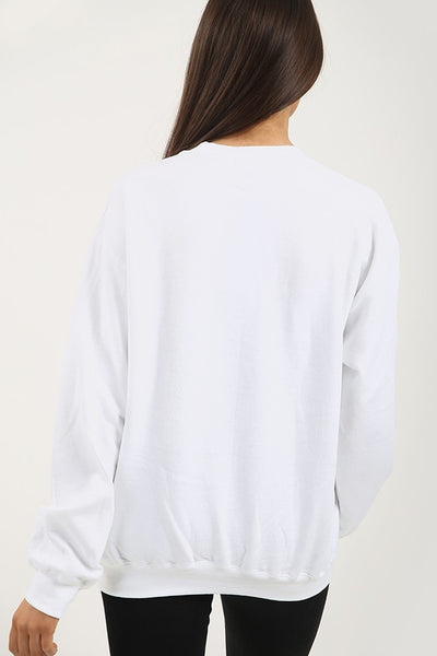 Back In Stock White Couture Lip Print Sweatshirt Jumper - Samantha