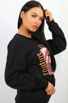 Back In Stock Black Couture Lip Print Sweatshirt Jumper - Samantha