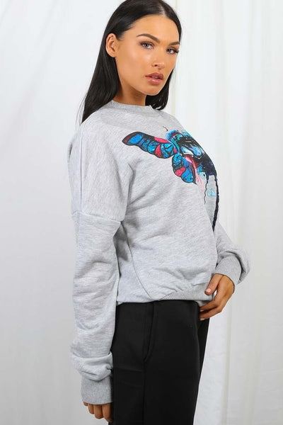 Grey Butterfly Eye Graphic Sweatshirt Jumper - Zoey