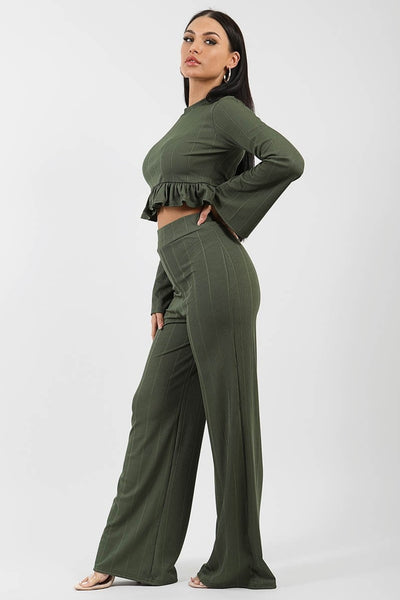 Khaki Green Ribbed Frill Hem Top & Trouser Co-ord - Sierra