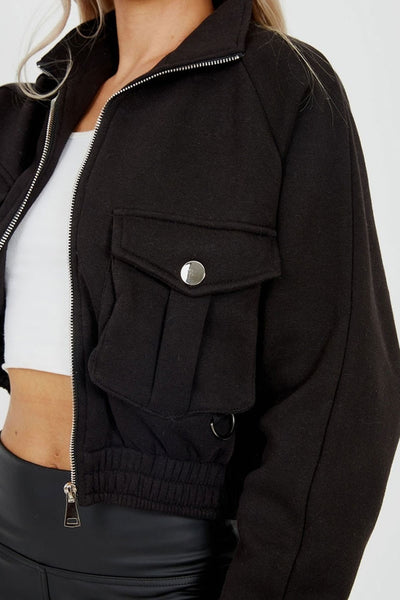 Black Jersey Utility Pocket Crop Jacket - Odele