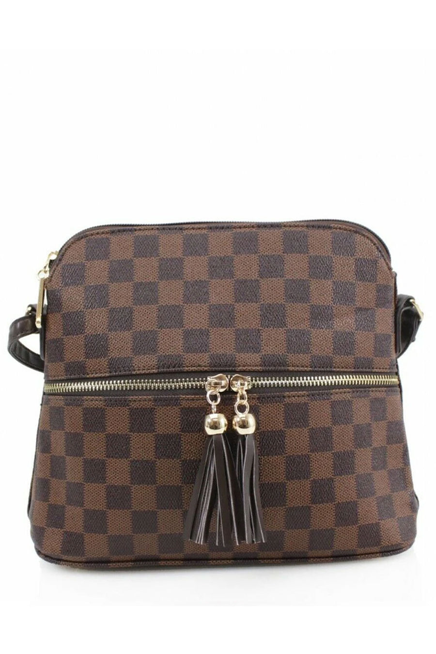 Brown Checkered Cross Body Zip Bag - Adeline