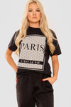 Black Paris Graphic Printed T-Shirt - Maci