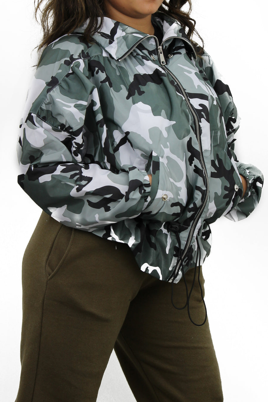 Camo Grey High Neck Hooded Festival Jacket - Parker