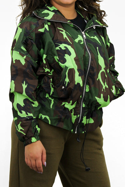 Camo Neon Green High Neck Hooded Festival Jacket - Parker
