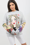 Grey Face Pop Art Graphic Sweatshirt Jumper - Micah