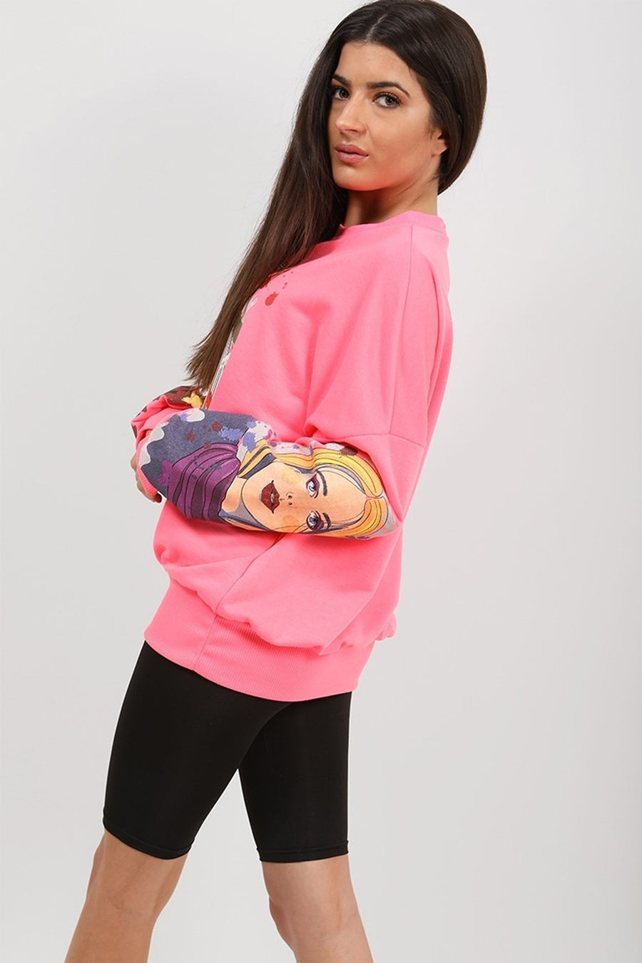 Neon Pink Face Pop Art Graphic Sweatshirt Jumper - Micah