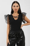 Black Organza Heart Sleeve Bodysuit - Daleyza