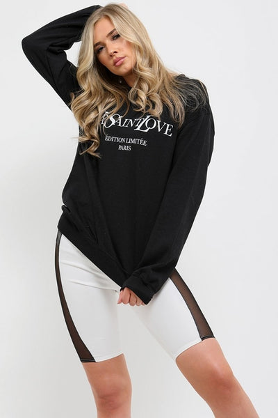 Black Ye Saint Love Print Sweatshirt Jumper - Alice