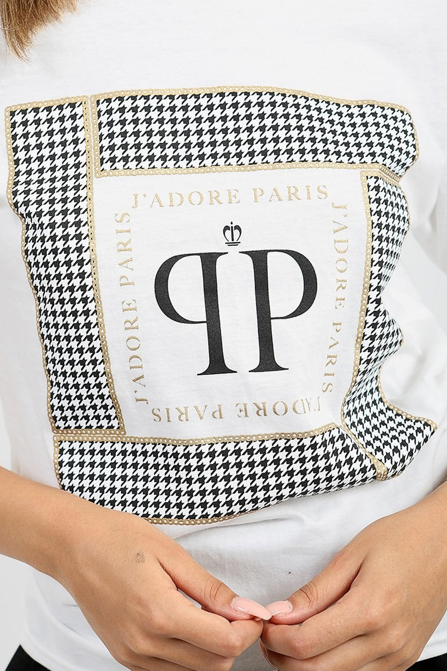 White J'Adore Paris Print Summer T-Shirt - Aviana
