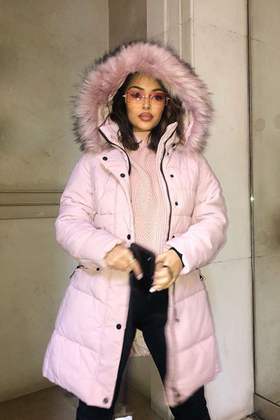 Pink Faux Fur Hood Long Padded Puffer Jacket - Paige