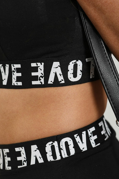 Black Love Tape Crop Top & Shorts Co-ord - Quinn