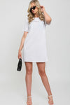 White Embroidered Butterfly Rib Dress - Janna