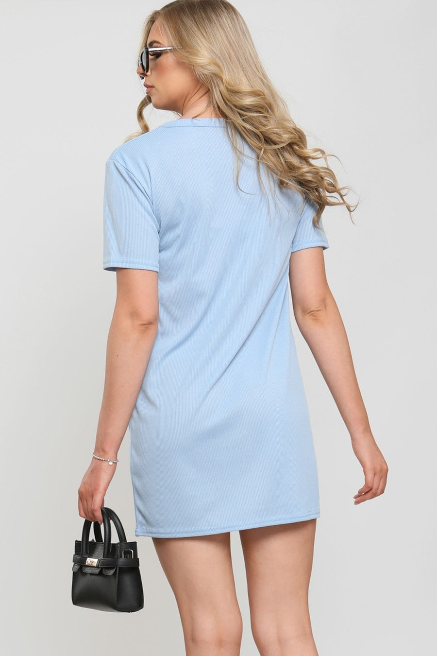 Blue Embroidered Butterfly Rib Dress - Janna