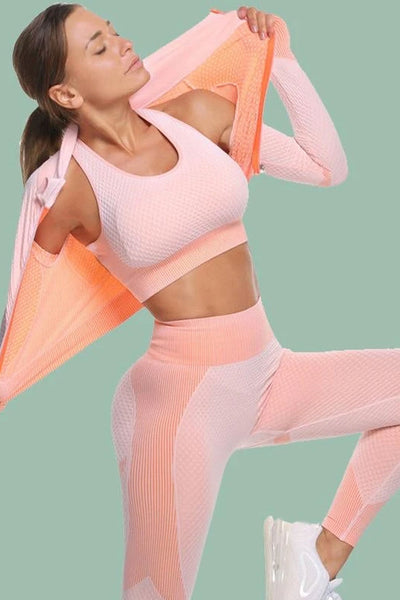 Textured Active Jacket Top & Pants Set