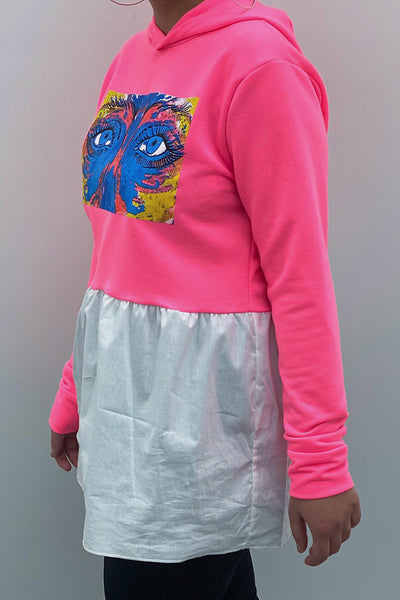 Neon Pink Eye Graphic Print White Frill Hoodie - Emma