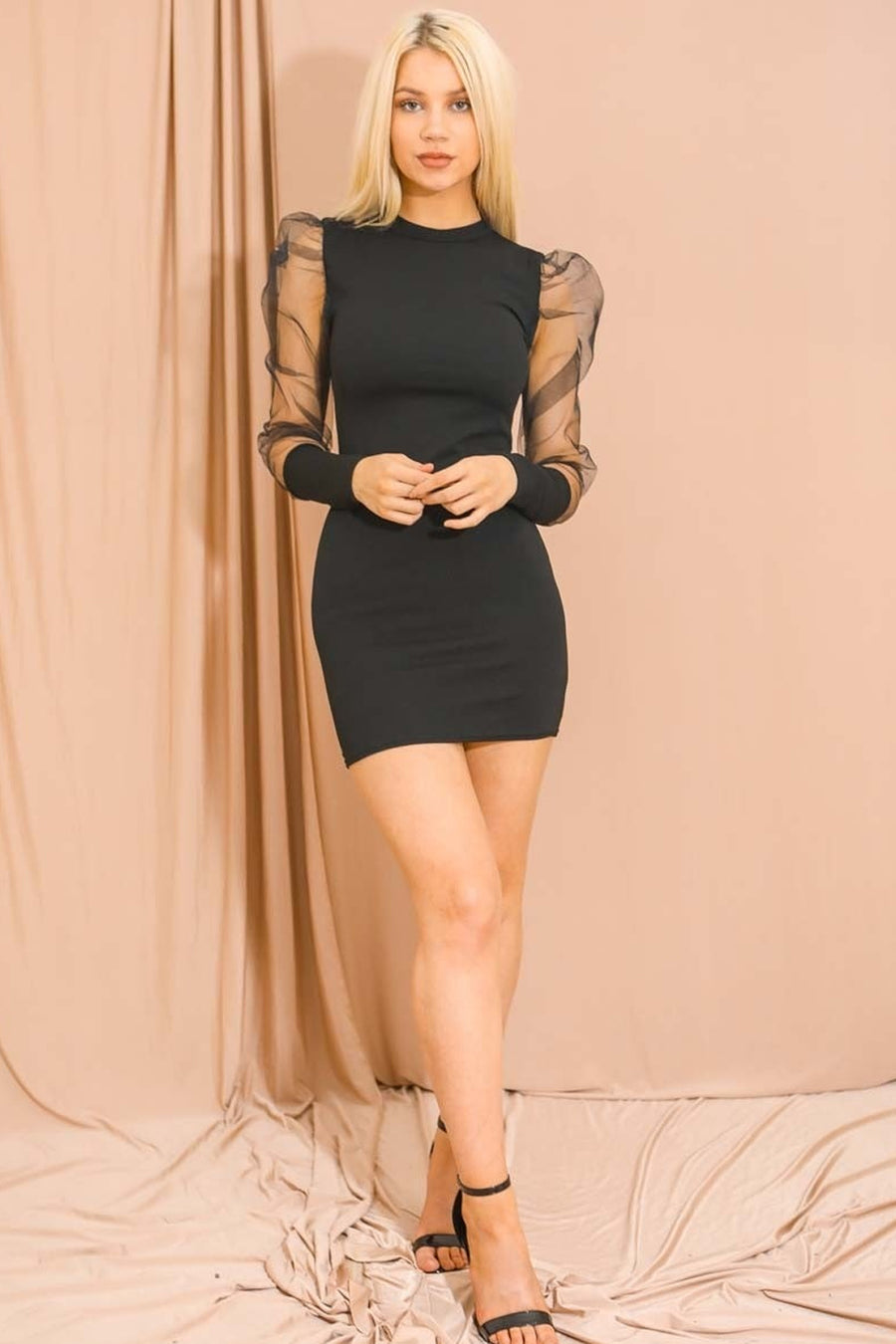 Black Fishnet Sleeve Bodycon Dress - Austin