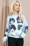 Grey Gothic Graphic Monster Print Jumper - Carson