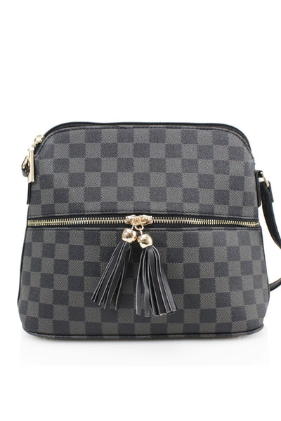 Black Checkered Cross Body Zip Bag - Adeline