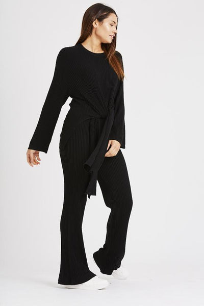 Black Knitted Tie Up Top & Trouser Co-ord Lounge Wear Set - storm desire