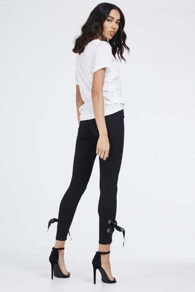 Bella Side Satin Ribbon Bow Skinny Jeans - Black - storm desire