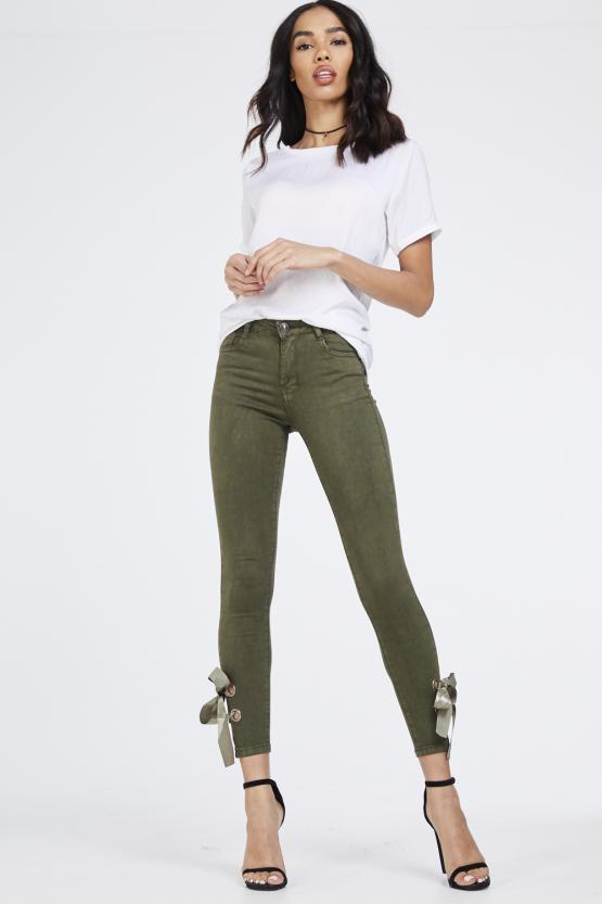 Khaki Green Side Satin Ribbon Bow Skinny Jeans - Bella - Storm Desire