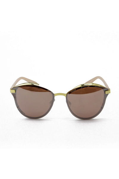 Oversized Rose Gold Trim Sunglasses - Pink